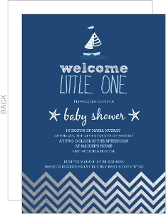Nautical Navy Silver Foil Chevron Waves Baby Shower Invitation