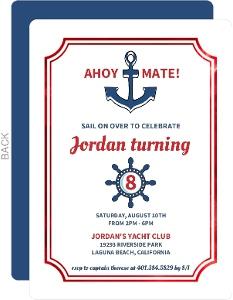 Nautical Red Foil Anchor Kids Birthday Invitation