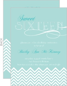 Mint And Teal Chevron Sweet Sixteen Invitation
