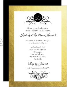 Gold Foil Frame Antique 50th Anniversary Invite