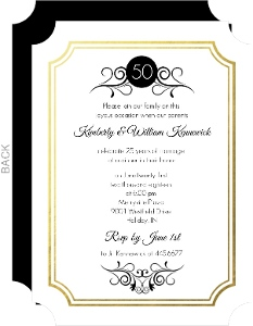 Gold Foil Frame Antique 50th Anniversary Invite