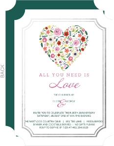 Budding Love Foil Frame 40th Anniversary Invitation