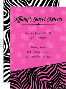 Pink Zebra Print Mini Sweet Sixteen Invitation