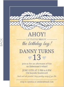 Rustic Yellow And Navy Knot Nautical Birthday Invitation