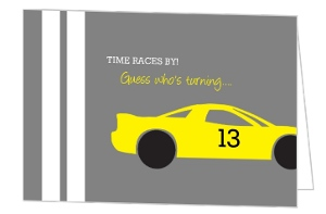 Gray And Yellow Race Car Birthday Invitation