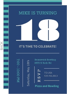 Blue And Teal Typographic Birthday Invitation