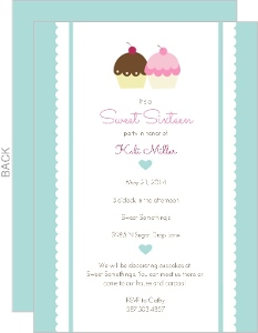 Sweet Sixteen Pink And Blue Cupcakes Birthday Invitation
