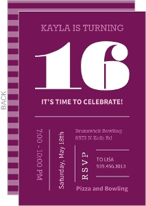 Magenta And Pink Typographic Sweet Sixteen Birthday Invitation