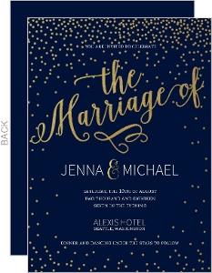 Faux Foil Twlight Stars Wedding Invitation