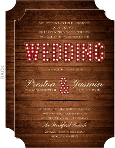 Rustic Wood Marquee Decor Wedding Invitation