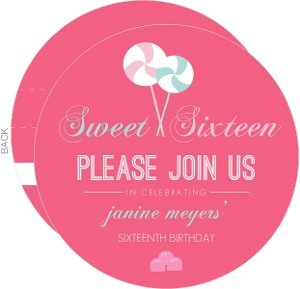 Lollipop Sweet Sixteen Invitation