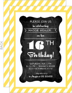 Yellow Striped Chalkboard Frame Sweet Sixteen Invitation