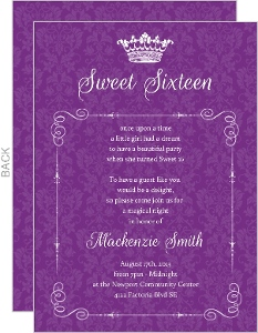 Royal Purple Damask Sweet Sixteen Invitation