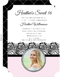 Pink and Black Lacy 16th Birthday Invitation