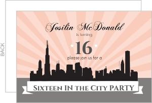 Sixteen In The City Skyline Birthday Invite