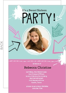 Pink And Blue Hand Drawn Sweet Sixteen Invitations