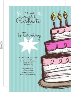 Hand Drawn Cake Sweet 16 Birthday Party Invite