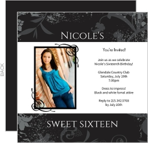Gray And White Grunge Floral 16Th Birthday Invitation