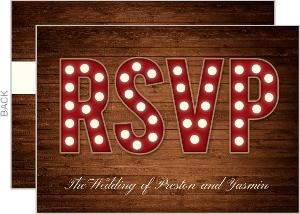Rustic Wood Marquee Decor Wedding Response Card