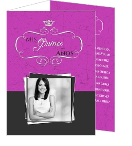 Fabulous Pink And Gray Tri Fold Quinceanera Invitation
