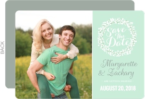 Whimsical Mint Babys Breath Wedding Save The Date Card