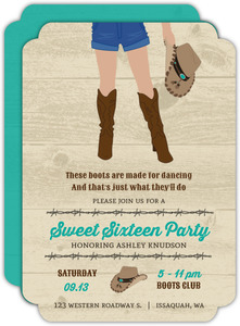 Country Boots Sweet 16 Birthday Invitation