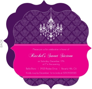 Elegant Damask And Chandelier Sweet 16 Birthday Invitaiton