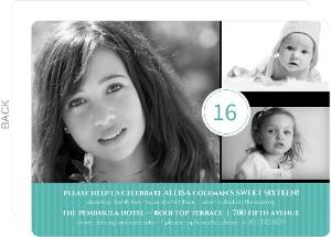Turquoise Photo Celebration 16Th Birthday Invitation