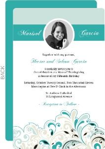 Fancy Turquoise Quinceanera Invite