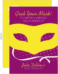Yellow Superhero Mask Birthday Invitation