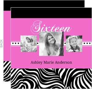 Fierce Bright Pink Zebra Pattern 16Th Birthday Invitation