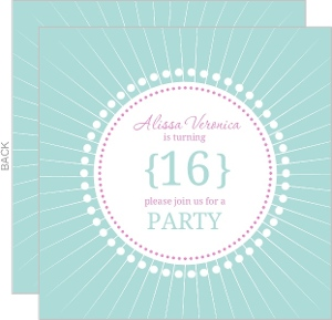 Light Blue And White Circles Sweet Sixteen Birthday Invitation