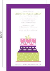 Purple Bright Cake Sweet 16Th Birthday Invitation
