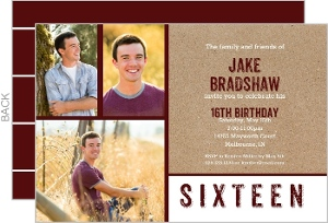 Three Photo Kraft Birthday Party Invitation