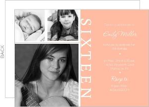 Three Photo Sixteenth Party Invitations