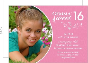White And Pink Floral Sweet 16Th Birthday Invitation