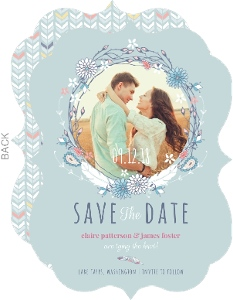 Boho Chic Delicate Feather Save The Date Card