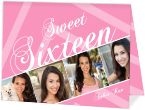Pretty In Pink Sweet 16 Birthday Invitation