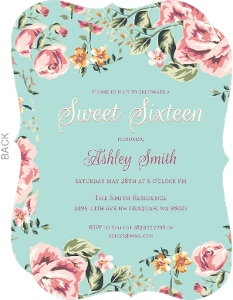 Beautiful Vintage Floral Sweet Sixteen Birthday Invitations