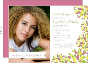 Sweet Sixteen Flowers Photo Birthday Invitations