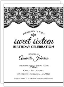 Black and White Lace Sweet 16 Birthday Invitation