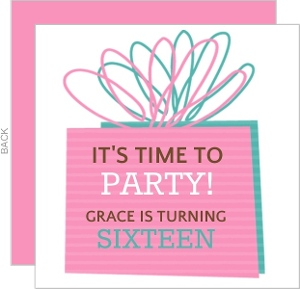 Pink Present Sweet 16 Birthday Invitation