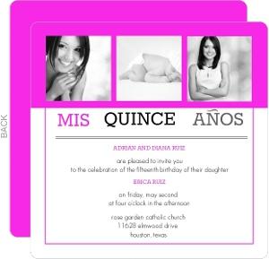 Bright Pink Modern Photo Quinceanera Invitation
