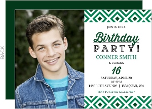 Green Diamond Pattern Sweet Sixteen Birthday Invitation