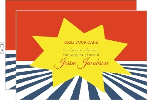 Red And Blue Superhero Extravaganza Birthday Invitation