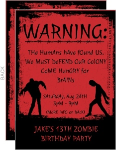 Red Zombie Kids Birthday Party Invitation