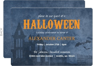 Blue And Black Haunted House Halloween Birthday Party