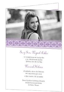 Purple Elegant Quineanera Invitation