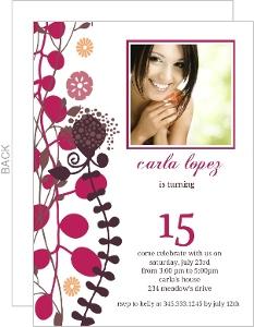 Sweet Fifteenth Birthday Party Invitation