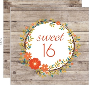 Rustic Floral Wreath Sweet 16 Party Invitations